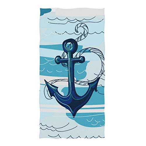 Wamika Handtücher mit Ankermotiv, blaues Ozean, schnelltrocknend, saugfähiges Handtuch für Hand, Gesicht, Fitnessstudio, Spa für Teenager, Mädchen, Erwachsene, Reisen, Pool, Fitnessstudio, 76 x 38 cm -