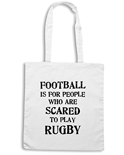 T-Shirtshock - Borsa Shopping TRUG0067 rugby vs football 2 logo Bianco