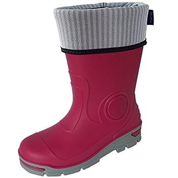 Muflon Boys Wellies Kids Children Girls Rain Boots Unisex Wellington Boots(uk 6-7eu 23-24,pink-socks) 0