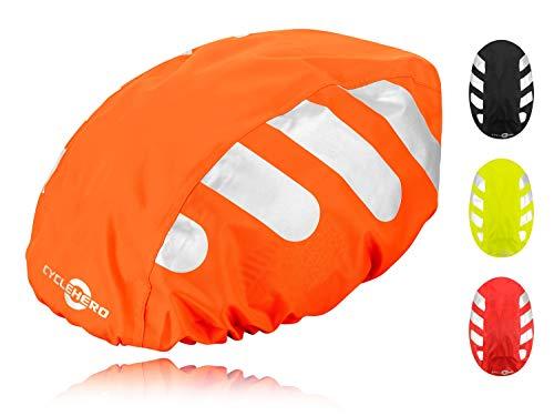 Wasserdichter Regenschutz für den Fahrradhelm (oranges Cover) Unisex Regenüberzug für den Helm mit Gummizug und Reflektor-Elementen - wasserfester Überzug für alle Helme (Herren, Damen, Kinder)