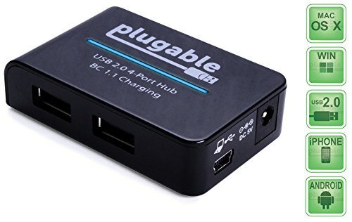 Plugable USB 2.0 4-Port Hub und BC 1.1 Schnellladegerät mit 12,5W Netzteil für EU und GB (BC 1.1 Aufladefunktion für Andoid, Apple iOS, und Windows mobile Geräte)