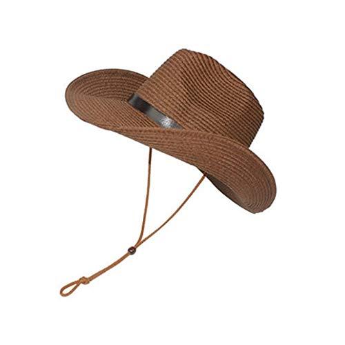 ern Cowboyhut Outdoor Sonnenschirm Erwachsene Kinder Strohhut für Erwachsene - Kaffee ()
