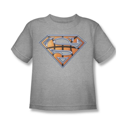 Superman - Basketball Shield Juvy T-Shirt in Heather, Large (7), Heather (Juvy Heather T-shirt)
