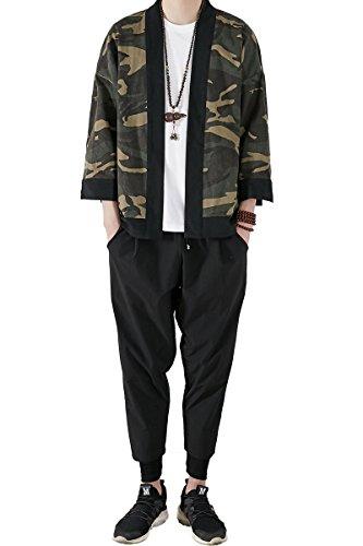 Mirecoo Herren Baumwolle Japan Happi Kimono Haori Jacke Übergangsjacke Camouflage