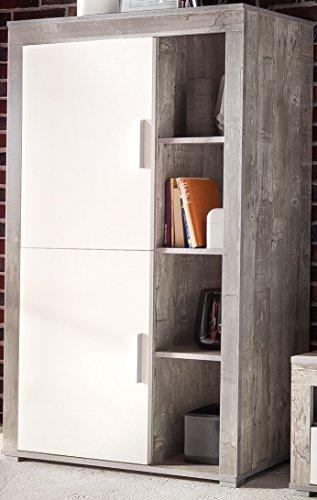 4.4.3.2955: made in BRD - Serie AWBW - Anstellschrank weiss-grau gescheckt dekor- Regalschrank weiss-grau gescheckt dekor - Standvitrine weiss-grau gescheckt dekor