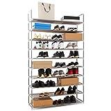 Meerveil Etagère à Chaussures 10 Couches Armoire à Chaussures Porte-Chaussures en Metal pour 50 Paires de Chaussures Organiseur à Chaussures pour Salon Entrée (Gris, 10 Couches)