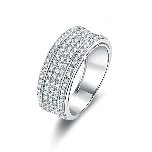Gioielli beydodo anello argento 925 zirconi anello di cristallo con rotonda brillante diamante taglia 12 anello nuziale argento