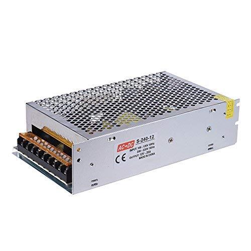 Aibecy AC 110V / 220V à DC 12V 240W 20A Alimentation par Commutation Intelligente, Double Entrée, Surveillance Centralisée, Adaptateur Transformateur pour Reprap 3D Imprimante Kit