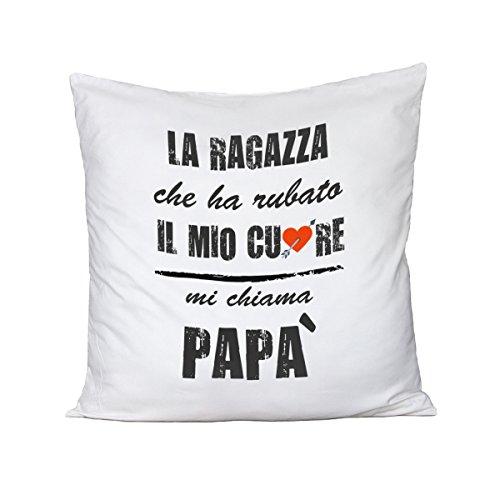 Bubbleshirt cuscino festa del papà la ragazza che ha rubato il mio cuore mi chiama papà - humor - happy father's day - idea regalo - in cotone