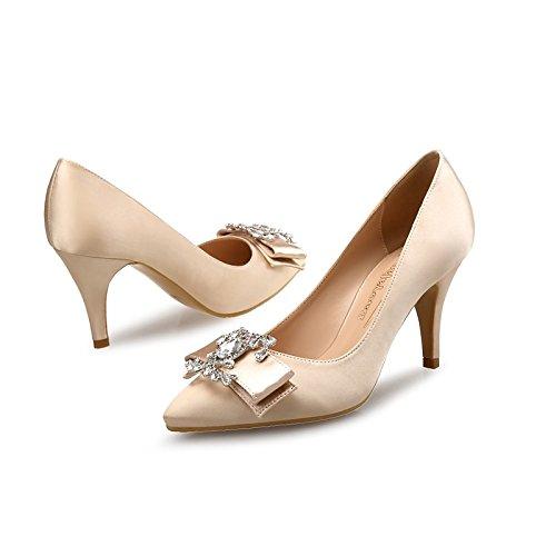 Dimaol Femmes Chaussures En Soie Automne Printemps Confort Talons Talon Stiletto Strass Pour La Fête De Mariage Et Soirée Amande Rouge Noir Amande