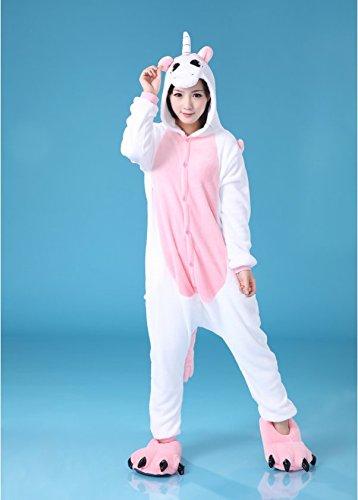 KISCHERS Kigurumi Pigiami Intero Unicorno Animale Cosplay Costume Pigiama Stitch con Cappuccio per Donne Ragazza Pink