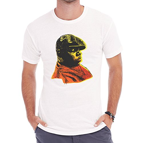 Notorious Big Drawing Black Orange Yellow Herren T-Shirt Weiß