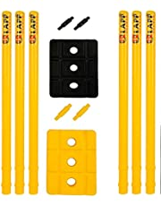 Klapp Six Pcs Plastic Wicket Set with Cover,Black and Yellow