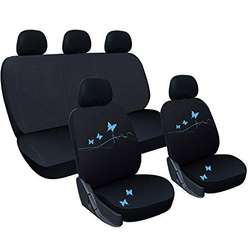 WOLTU AS7304bl Universal Schonbezüge für Auto Sitzbezug Sitzschoner Autositzbezug, Butterfly Stickerei, schwarz-blau