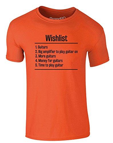 Brand88 - Guitar Wishlist, Erwachsene Gedrucktes T-Shirt Orange/Schwarz