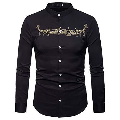 Saingance Herren Hemd Herbst Winter Luxus Casual Gold Stickerei Langarm Shirt Top Bluse