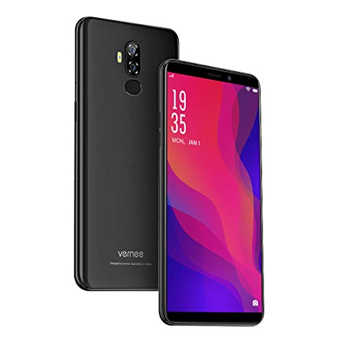 Vernee X2(2019) Smartphone Ohne Vertrag, Android 9.0, 6350 mAh große Batterie, 3GB RAM 32GB ROM, 13MP+5MP Haupt/5MP Frontkameras, Dual SIM 4G Handy, 6 Zoll 18: 9 HD-Display, Face-ID(schwarz) Handy-display