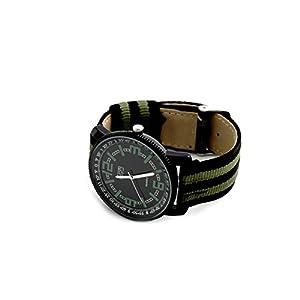 Eton Reloj para Hombre Reloj de Pulsera de Acero con Esfera analógica de Cuarzo. Cierre con Correa Ajustable de Tela a Rayas Negro y Verde.