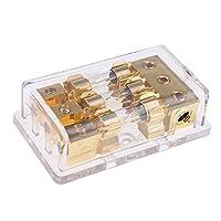 Baoblaze Durable 60A 3Way Car Audio Fuse Block Distribution Holder Gold Plate FH-005Car Accessories Heavy Duty