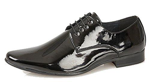 Lackierte Gibson-Schuhe für Herren, Schlankkarreefußform, 4 Ösen, Schwarz, Schwarz - schwarzer lack - Größe: 44 / 10 UK