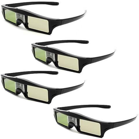 Eyoyo 3D IR Gafas 96-144Hz Active Shutter Glasses Activo obturador gafas 3D para BenQ W1070 W700 W710ST DLP-Link Proyectores (4 pcs)