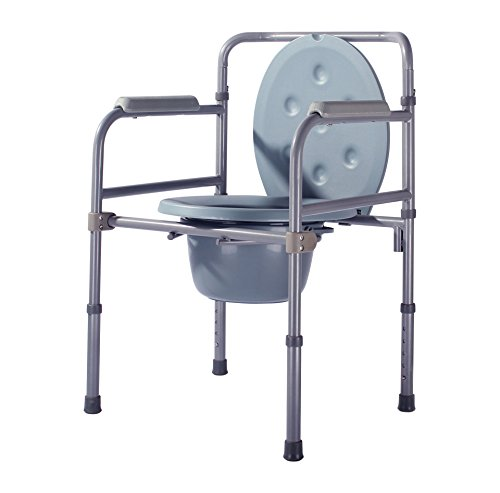 YXMxxm Tragbare Bedside Kommode. 220 Pfund Kapazität. Justierbare Beine. Klappbarer Kommode aus Aluminium mit Armlehne und abnehmbarem Eimer