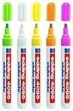 edding 4095 Fenster-/Kreidemarker, 2-3mm, weiß + Neonfarben: grün, gelb, pink und orange, 5er Set...