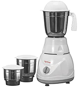 Lifelong Power Pro 500-Watt Mixer Grinder with 3 Jars, White/Grey