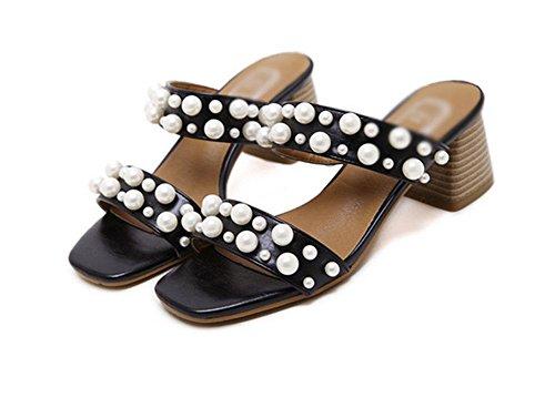 Offene Sandalen Frauen das Wort drag beiläufige Komfortschuhe wilden Sandalen Black