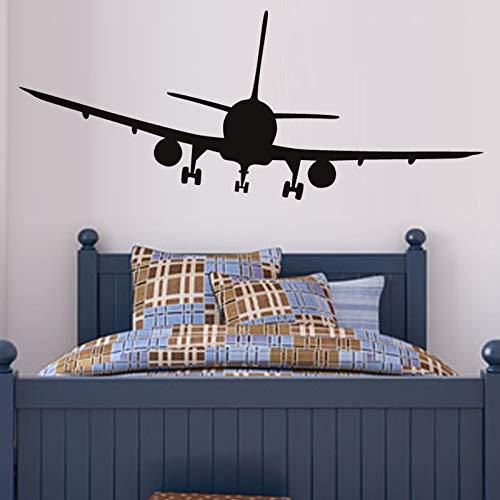 Verkehrsflugzeug Wandtattoo Removable Home Decor Flugzeug Silhouette Wandaufkleber Für Schlafzimmer Art Vinyl Wohnzimmer 145 cm x 58 cm L
