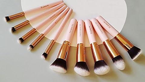 Make-Up Pinselset Kosmetik Kabuki Pinsel Set - 10 Teiliges Premium Schminkpinsel Set (Puderpinsel Foundation Pinsel Inkl.) - Ideal für Puder, Cremige oder Flüssige Foundation und andere Makeup Produkte - Super Geschenkidee - Angebotspreis nur für kurze Zeit