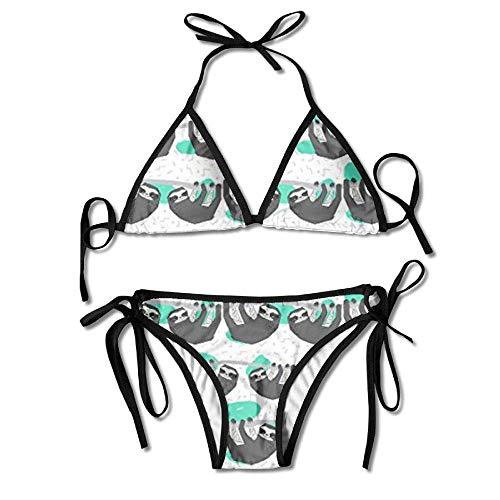 MSGDF Bikini Swimwear Womens Sexy Bikini Sets Bathing Swimsuits Tie Back Geo Sloth Flower Print Black -