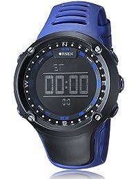 Alienwork Ohsen Reloj Digital Multi-función cuarzo Retroiluminación Poliuretano negro azul OS.1510-3