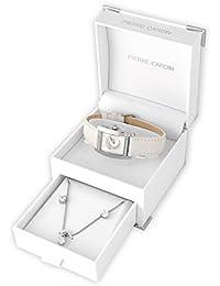 Pierre Cardin  - Reloj de cuarzo para mujer, correa de cuero color blanco