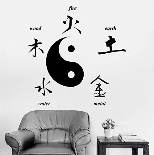 Chinesische taoistische Kultur Wandaufkleber Ausgangsdekor Buddha Chinesische Zeichen der Elemente Yin Yang Symbol Aufkleber Wohnzimmer Schlafzimmer 56x56 cm (Halloween-elemente Verkauf Auf)