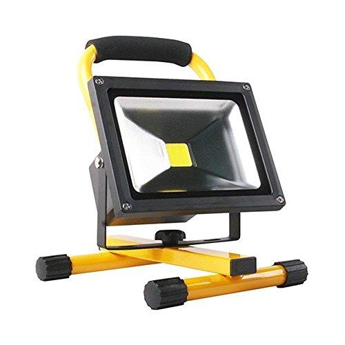 SAILUN 20W LED projecteurs Blanc Froid Lampe à la main Rechargeable Avec Batterie, Portable Adaptateur et Chargeur de Voiture inclus, IP65 Jaune