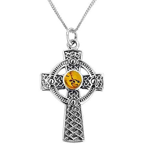 Celtico argento Iona Croce, con catena 16
