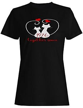 Gatos que amamos juntos desde 1976 camiseta de las mujeres f196f