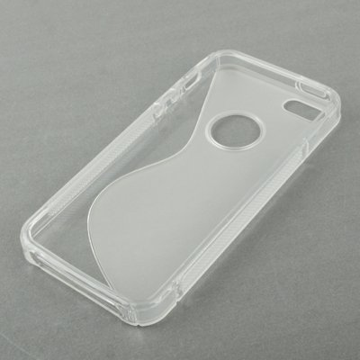 Wkae Case Cover S-Linie TPU Shell für iPhone 5 ( Color : Red ) Transparent