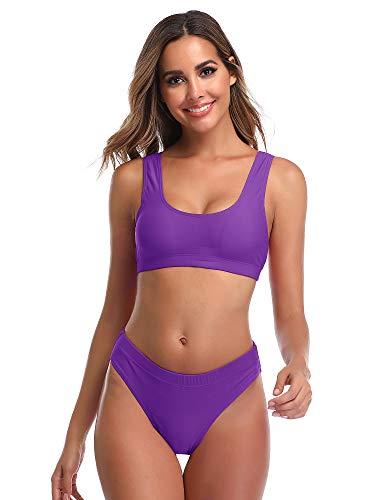 Summer Mae Damen Bikini Set Bustier Oberteil Zweiteile Sportliche Bademode Lila S - Sportliches Set