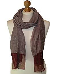 Red Scarf in Polyester Fabric with twin weave Silver lurex panels 858-R (RED)