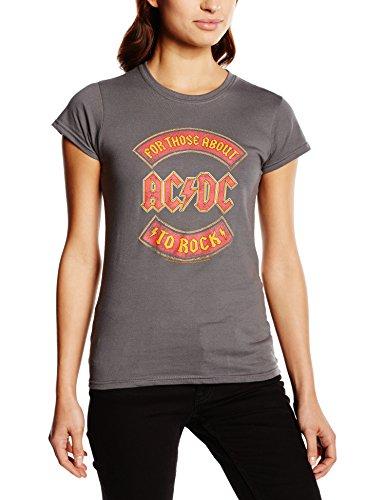 Cid Ac/dc - About To Rock Banner - T-shirt - Femme Gris - Gris