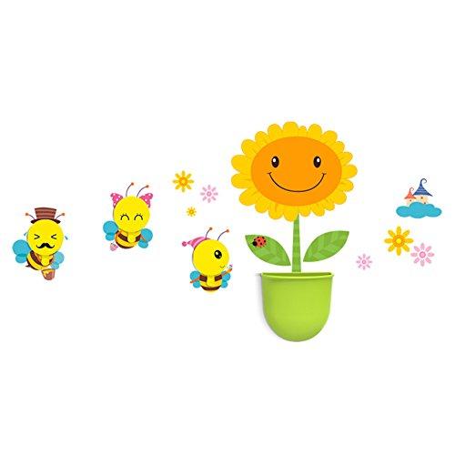 Moolecole Niedlich DIY Kinder Dekorative Wash Gargle Klage mit Handtuchhaken und Aufbewahrungsbehälter Wand Abziehbild Aufkleber Hakenset Sonnenblume