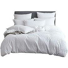 Umi. Essentials 100% cotton woven Seersucker Stripe Duvet Cover-King