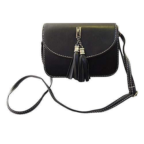 Milya Retro-Taschen Damen Handtasche Portemonnaie PU Leder Satchel Small Umhängetasche Mode-Design mit Quasten Sechs Farben sechs Arten von Auswahl Schwarz (Unter Satchel 20 Schwarze)