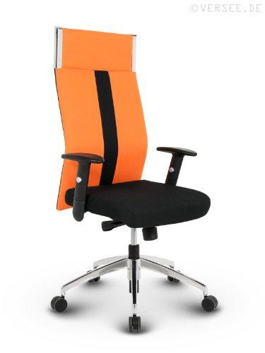 #Versee Stoff Design Drehstuhl Chefsessel Bürostuhl Black-Line orange#