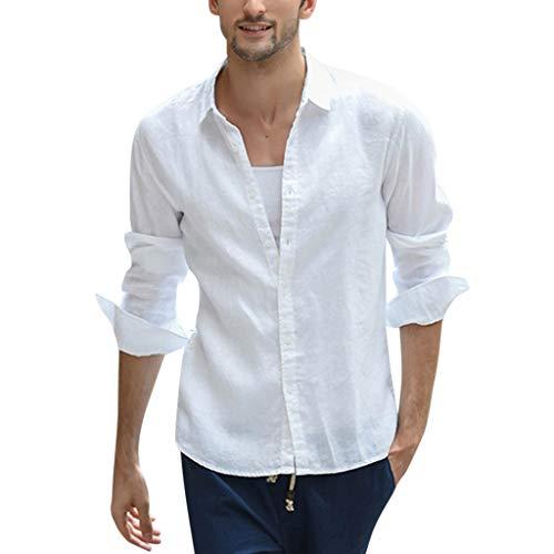 r Top Loose Cotton Linen Einfarbig Langarm Knopf Retro Umlegekragen Revers Shirts Long Sleeve T-Shirt Vintage Oversize Bügelfrei Moderner Outdoor Designer Hemd ()
