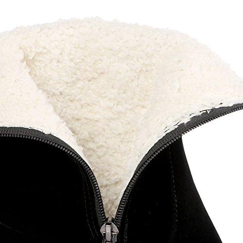 VogueZone009 Femme Zip Rond à Talon Haut Haut Bas Bottes avec Passepoil à Diamant Verre Noir