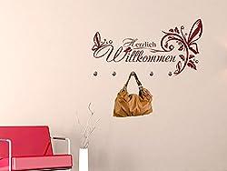 GRAZDesign Wandtattoo Garderobe inkl. 5 Wandhaken für Flur Spruch Herzlich Willkommen Blume (89x45cm / 092 Kupfer/Haken 5Stück)