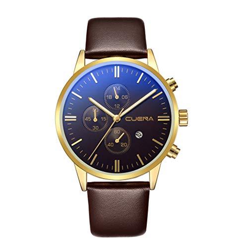 IG Invictus Luxus Mode Faux Leather Mens Blue Ray Glass Quartz Analog Uhren mit Calen CUENA 819 Gürtel mit Kalender Der Gürtel MIT Einem braunen Gürtel Golden Brown oberfläche...